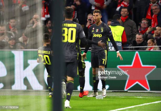 Cristiano Ronaldo of Juventus celebrates after scoring his team's first goal during the UEFA Champions League Quarter Final first leg match between...