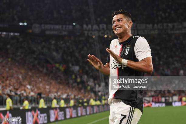 Cristiano Ronaldo of Juventus celebrates after scoring his team's third goal during the Serie A match between Juventus and SSC Napoli at Allianz...