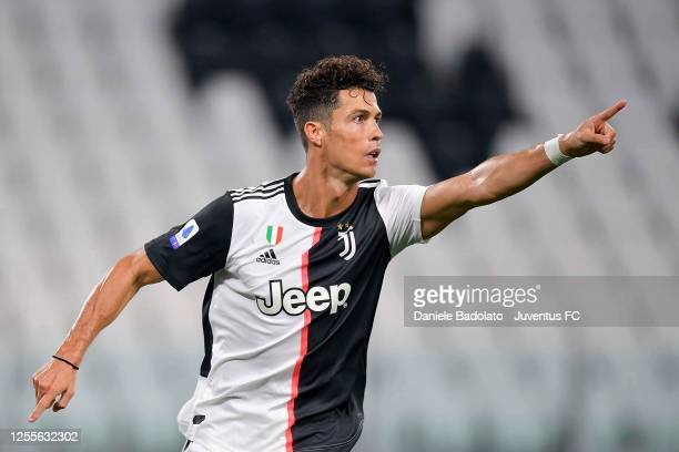 Cristiano Ronaldo of Juventus celebrates after scoring his team's first goal during the Serie A match between Juventus and Atalanta BC at Allianz...