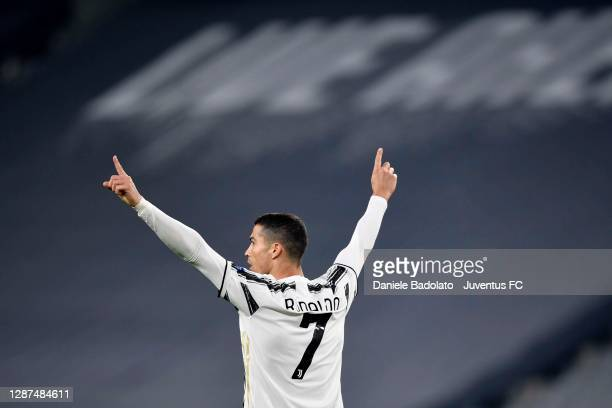 Cristiano Ronaldo of Juventus celebrates after scoring his team's first goal during the UEFA Champions League Group G stage match between Juventus...