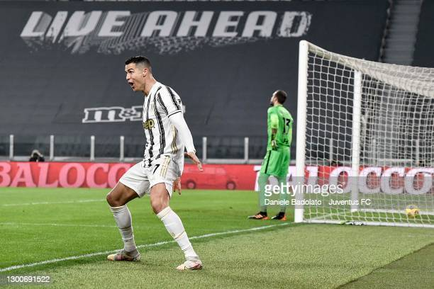 Cristiano Ronaldo of Juventus celebrates after scoring his team's first goal during the Serie A match between Juventus and AS Roma at Allianz Stadium...