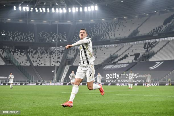 Cristiano Ronaldo of Juventus celebrates after scoring his team's second goal during the Serie A match between Juventus and FC Crotone at Allianz...