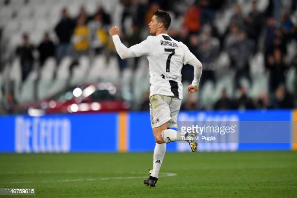 Cristiano Ronaldo of Juventus celebrates after scoring the equalizing goal during the Serie A match between Juventus and Torino FC on May 03 2019 in...