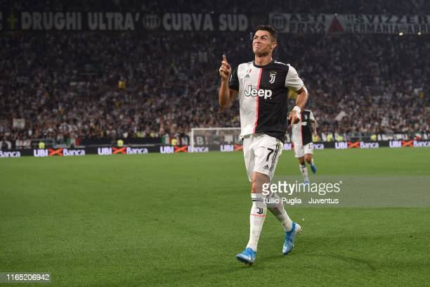Cristiano Ronaldo of Juventus celebrates after scoring the goal of 3-0 during the Serie A match between Juventus and SSC Napoli at Allianz Stadium on...