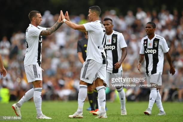 Cristiano Ronaldo of Juventus celebrates after scoring the opening goal with team mates during the PreSeason Friendly match between Juventus and...