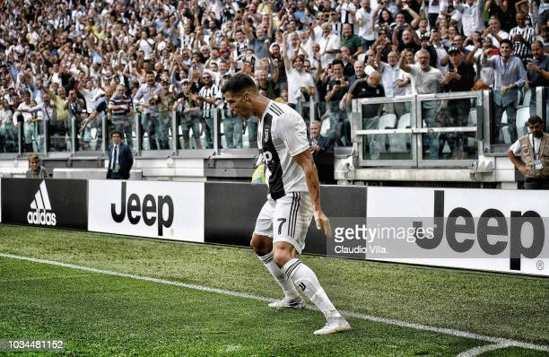 Cristiano Ronaldo of Juventus celebrates after scoring the opening goal during the serie A match between Juventus and US Sassuolo at Allianz Stadium...
