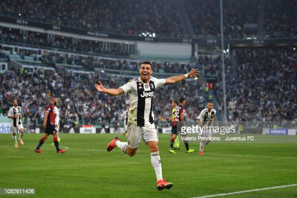 Cristiano Ronaldo of Juventus celebrates after scoring the opening goal during the Serie A match between Juventus and Genoa CFC at Allianz Stadium on...