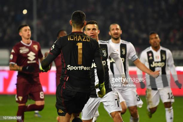Cristiano Ronaldo of Juventus celebrates after scoring the opening goal from the penalty spot during the Serie A match between Torino FC and Juventus...