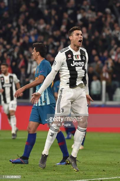 Cristiano Ronaldo of Juventus celebrates after scoring the opening goal during the UEFA Champions League Round of 16 Second Leg match between...