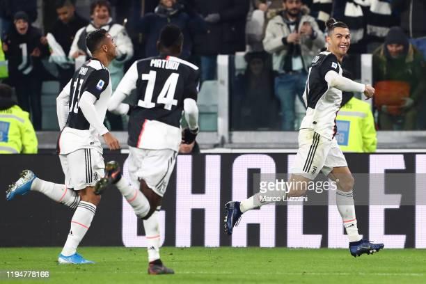 Cristiano Ronaldo of Juventus celebrates after scoring the opening goal during the Serie A match between Juventus and Parma Calcio at Allianz Stadium...