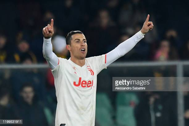 Cristiano Ronaldo of Juventus celebrates after scoring the opening goal during the Serie A match between Hellas Verona and Juventus at Stadio...