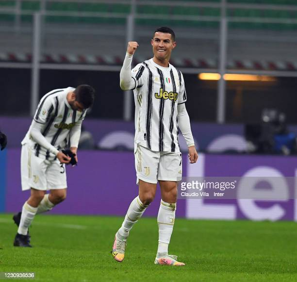Cristiano Ronaldo of Juventus celebrates after scoring the second goal during the Coppa Italia semi-final match between FC Internazionale and...