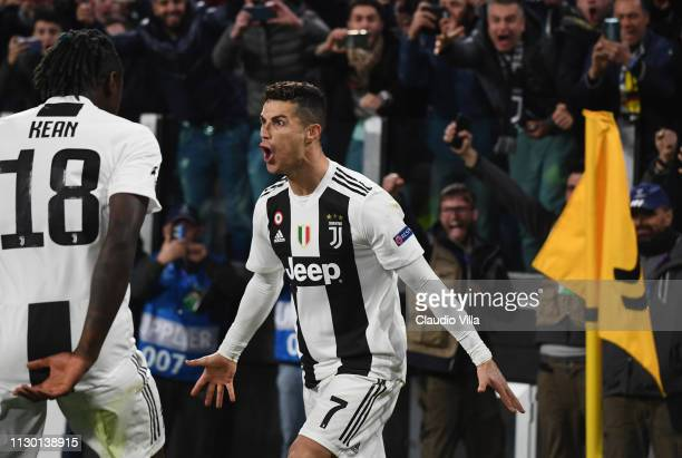 Cristiano Ronaldo of Juventus celebrates after scoring the third goal during the UEFA Champions League Round of 16 Second Leg match between Juventus...