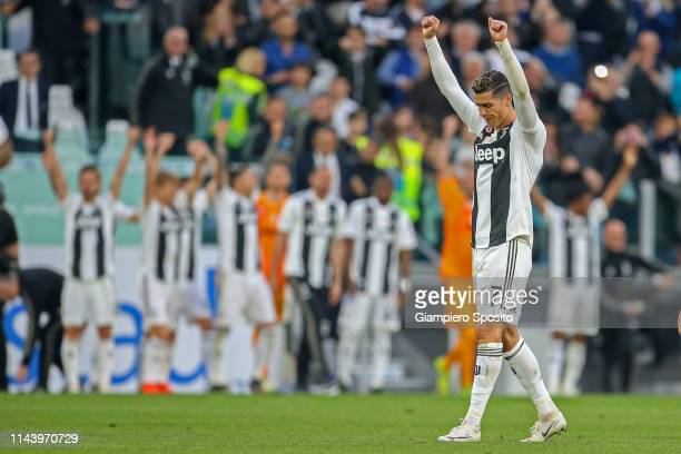 Cristiano Ronaldo of Juventus celebrates after winning the Italian league at the end of the Serie A match between Juventus and ACF Fiorentina on...