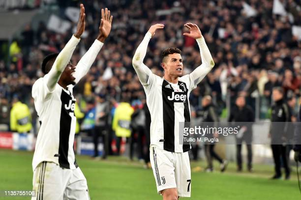 Cristiano Ronaldo of Juventus celebrates after winning the UEFA Champions League Round of 16 Second Leg match between Juventus and Club de Atletico...