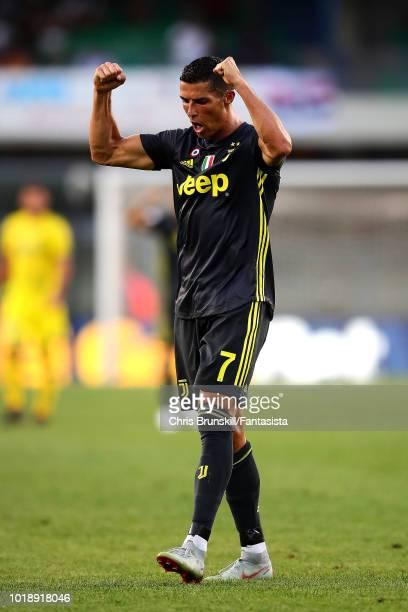 Cristiano Ronaldo of Juventus celebrates at fulltime following the Serie A match between Chievo Verona and Juventus at Stadio Marc'Antonio Bentegodi...