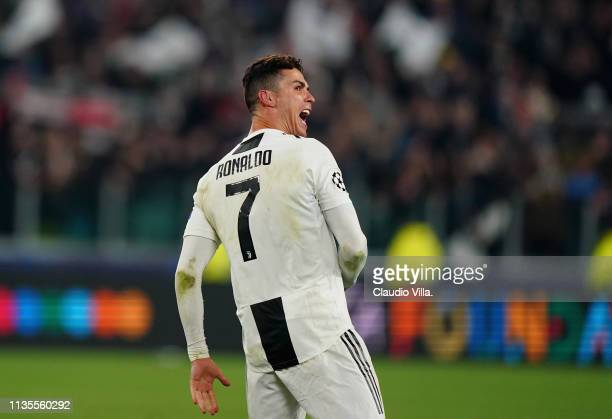 Cristiano Ronaldo of Juventus celebrates at the end of the UEFA Champions League Round of 16 Second Leg match between Juventus and Club de Atletico...