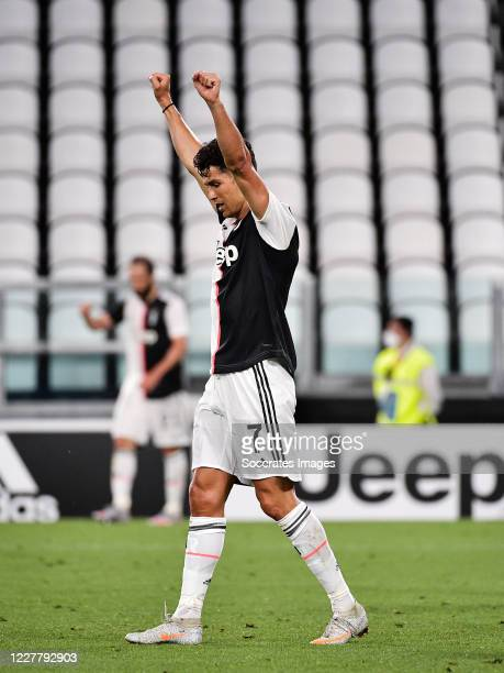 Cristiano Ronaldo of Juventus celebrates championship Serie A during the Italian Serie A match between Juventus v Sampdoria at the Allianz Stadium on...