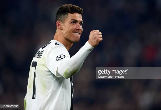 Cristiano Ronaldo of Juventus celebrates following his sides victory in the UEFA Champions League Round of 16 Second Leg match between Juventus and...
