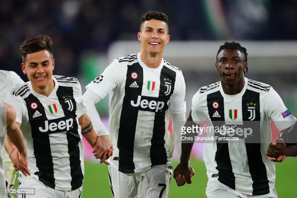 Cristiano Ronaldo of Juventus celebrates following the UEFA Champions League Round of 16 Second Leg match between Juventus and Club de Atletico...