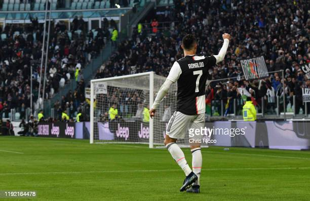 Cristiano Ronaldo of Juventus celebrates goal during the Serie A match between Juventus and Cagliari Calcio at Allianz Stadium on January 6, 2020 in...