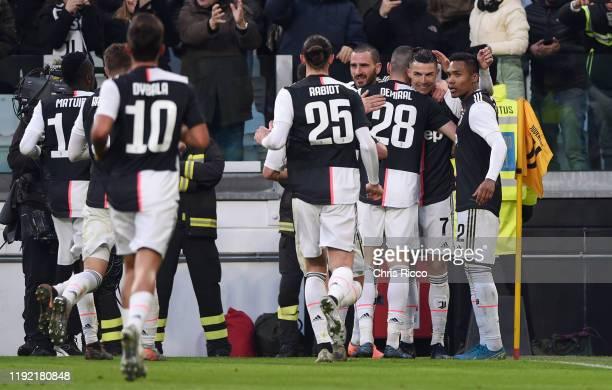 Cristiano Ronaldo of Juventus celebrates goal with teammates during the Serie A match between Juventus and Cagliari Calcio at Allianz Stadium on...