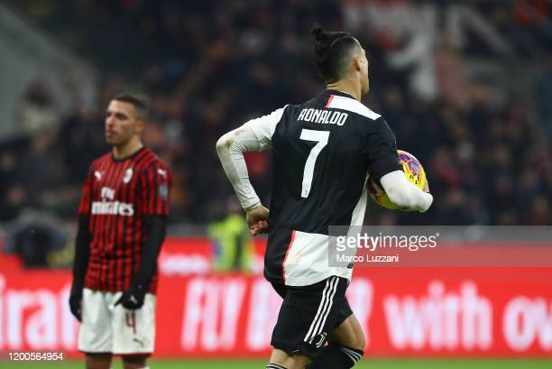 Cristiano Ronaldo of Juventus celebrates his goal during the Coppa Italia Semi Final match between AC Milan and Juventus at Stadio Giuseppe Meazza on...