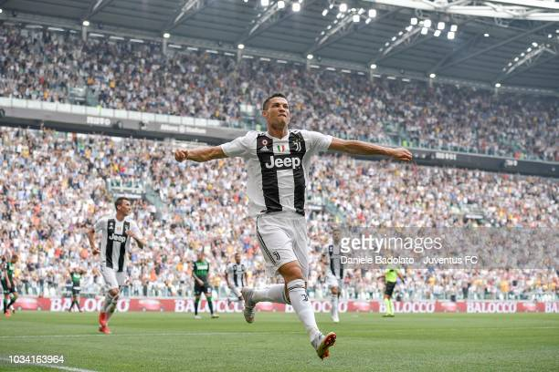Cristiano Ronaldo of Juventus celebrates his goal of 10 during the serie A match between Juventus and US Sassuolo at Allianz Stadium on September 16...