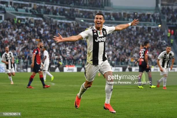 Cristiano Ronaldo of Juventus celebrates his goal of 10 during the Serie A match between Juventus and Genoa CFC at Allianz Stadium on October 20 2018...