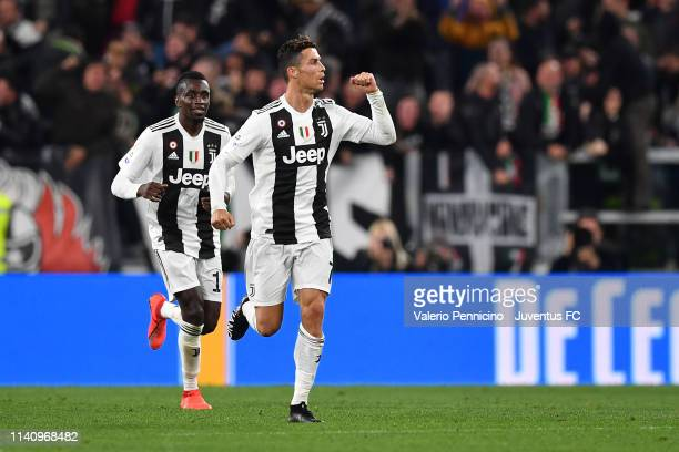 Cristiano Ronaldo of Juventus celebrates his goal of 11 with teammate Blaise Matuidi during the Serie A match between Juventus and Torino FC on May 3...