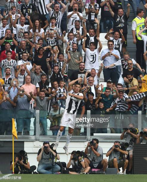 Cristiano Ronaldo of Juventus celebrates his goal of 20 during the serie A match between Juventus and US Sassuolo at Allianz Stadium on September 16...