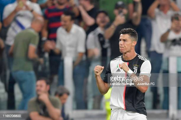 Cristiano Ronaldo of Juventus celebrates his goal of 3-0 during the Serie A match between Juventus and SSC Napoli at Allianz Stadium on August 31,...
