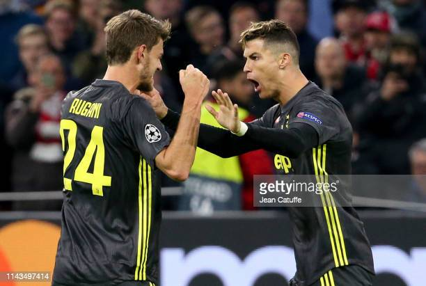 Cristiano Ronaldo of Juventus celebrates his goal with Daniele Rugani during the UEFA Champions League Quarter Final first leg match between AFC Ajax...