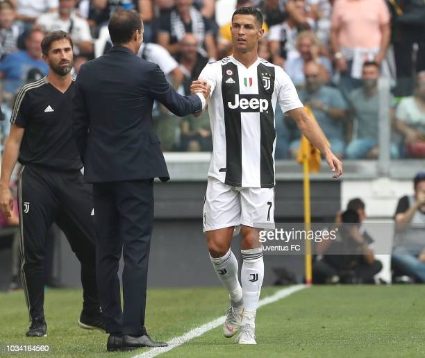 Cristiano Ronaldo of Juventus celebrates his goal with head coach of Juventus Massimiliano Allegri during the serie A match between Juventus and US...