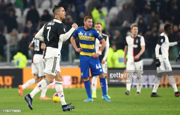Cristiano Ronaldo of Juventus celebrates his second goal during the Serie A match between Juventus and Parma Calcio at Allianz Stadium on January 19...