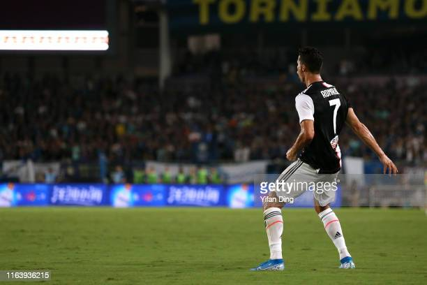 Cristiano Ronaldo of Juventus celebrates scoring his side's first goal from a free kick during the International Champions Cup match between Juventus...