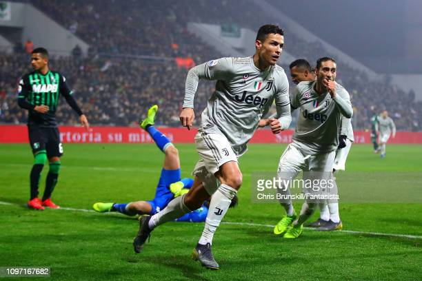 Cristiano Ronaldo of Juventus celebrates scoring his side's second goal during the Serie A match between US Sassuolo and Juventus at Mapei Stadium...