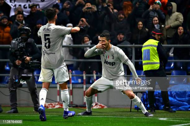 Cristiano Ronaldo of Juventus celebrates scoring his sides second goal during the Serie A match between US Sassuolo and Juventus at Mapei Stadium...