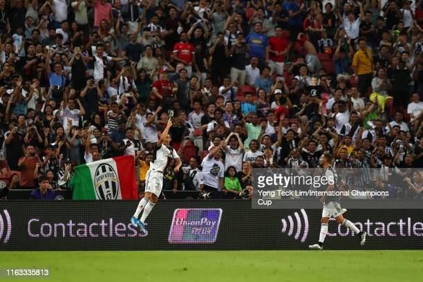 Cristiano Ronaldo of Juventus celebrates scoring his side's second goal during the International Champions Cup match between Juventus and Tottenham...