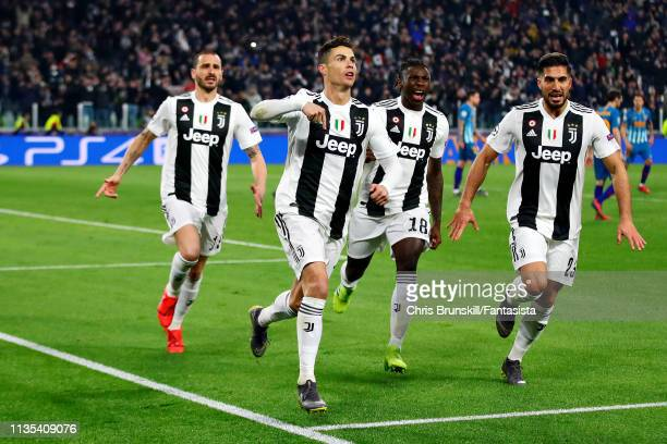 Cristiano Ronaldo of Juventus celebrates scoring his sides third goal from the penalty spot during the UEFA Champions League Round of 16 Second Leg...