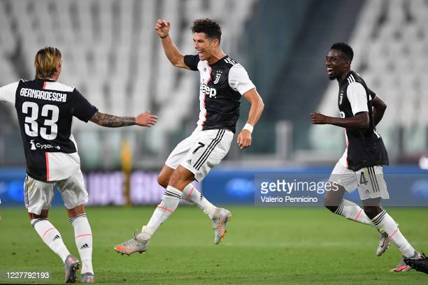 Cristiano Ronaldo of Juventus celebrates the opening goal during the Serie A match between Juventus and UC Sampdoria at Allianz Stadium on July 26...