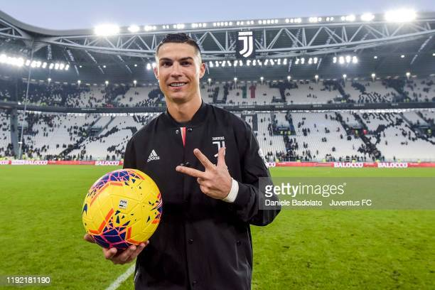 Cristiano Ronaldo of Juventus celebrates the victory and his 3 goals at the end of the Serie A match between Juventus and Cagliari Calcio at Allianz...