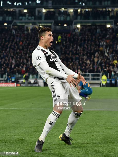 Cristiano Ronaldo of Juventus celebrates the victory at the end of the UEFA Champions League Round of 16 Second Leg match between Juventus and Club...