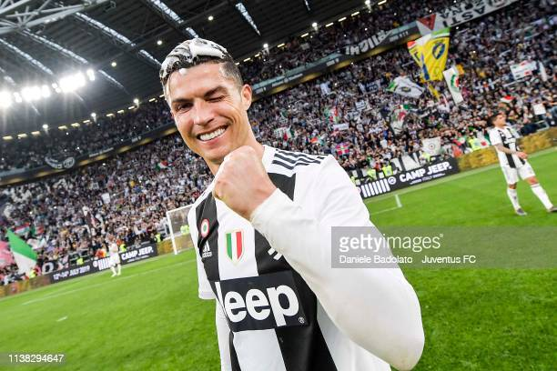 Cristiano Ronaldo of Juventus celebrates the winning of the Italian championship 20182019 after the Serie A match between Juventus and ACF Fiorentina...