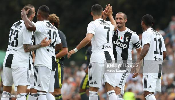 Cristiano Ronaldo of Juventus celebrates with his teammate Giorgio Chiellini after scoring the opening goal during the PreSeason Friendly match...