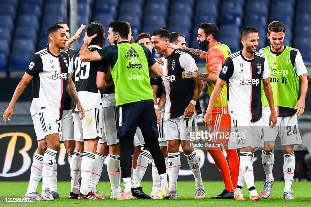 Cristiano Ronaldo of Juventus celebrates with his teammates after scoring a goal during the Serie A match between Genoa CFC and Juventus FC at Stadio...