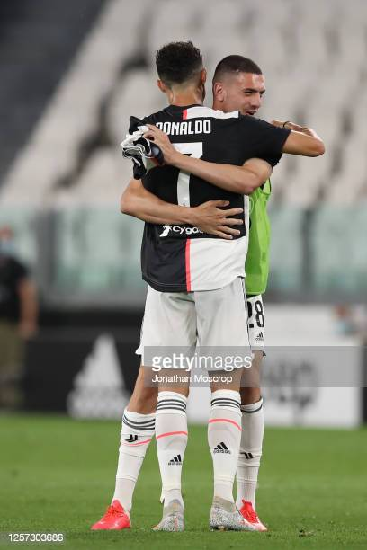 Cristiano Ronaldo of Juventus celebrates with Merih Demiral after their 2-1 victory during the Serie A match between Juventus and SS Lazio at Allianz...