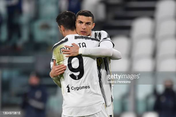 Cristiano Ronaldo of Juventus celebrates with team mate Alvaro Morata after scoring their side's third goal during the Serie A match between Juventus...