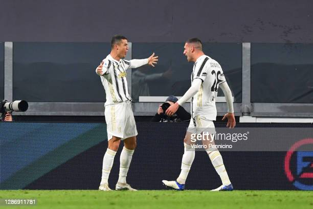 Cristiano Ronaldo of Juventus celebrates with teammate Merih Demiral after scoring his team's second goal during the Serie A match between Juventus...