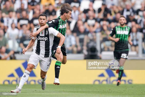 Cristiano Ronaldo of Juventus competes for the ball during the serie A match between Juventus and US Sassuolo at Allianz Stadium on September 16 2018...